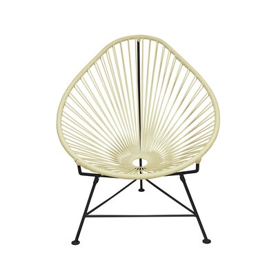 Borquez Papasan Chair Upholstery: Wheat, Finish: Black