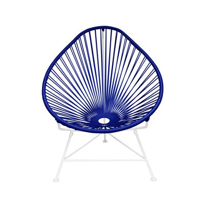 Borquez Papasan Chair Upholstery: Navy, Color: White
