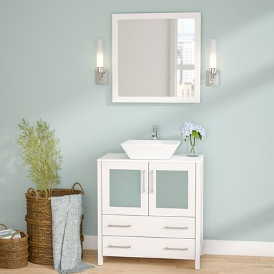 Karson Framed 30 Single Bathroom Vanity Set with Mirror Base Finish: White