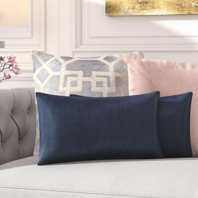 Rhea Lumbar Pillow Color: Navy
