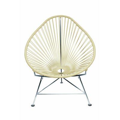 Borquez Papasan Chair Upholstery: Wheat, Finish: Chrome