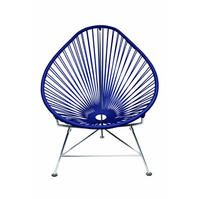 Borquez Papasan Chair Upholstery: Navy, Color: Chrome