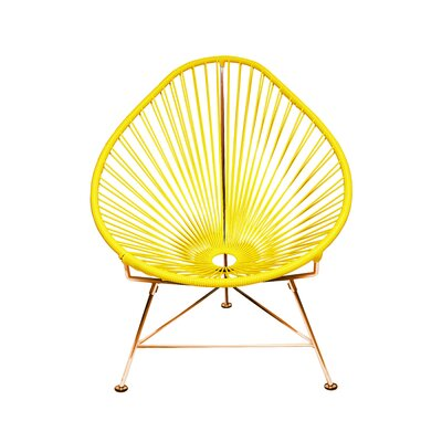 Borquez Papasan Chair Upholstery: Bright Yellow, Finish: Copper