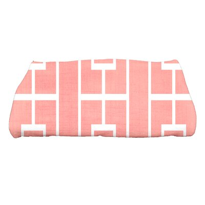 Sailer Lattice Geometric Print Bath Towel Color: Coral