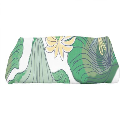 Monteiro Floral Print Bath Towel Color: Green