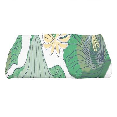 Monteiro Floral Print Bath Towel Color: Green