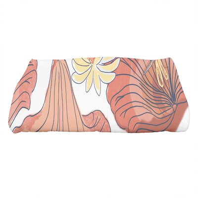 Monteiro Floral Print Bath Towel Color: Orange