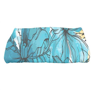 Marlow Zentangle Floral Print Bath Towel Color: Teal