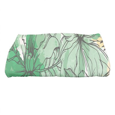 Marlow Zentangle Floral Print Bath Towel Color: Green