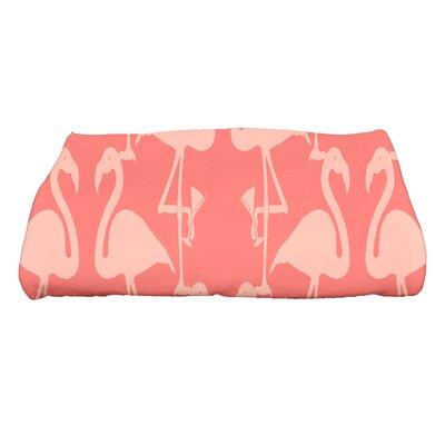 Sailer Flamingo Heart Martini Animal Print Bath Towel Color: Orange