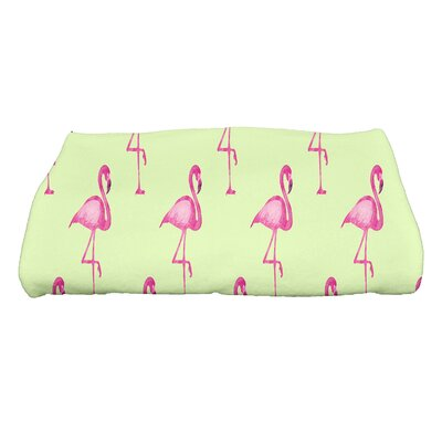 Sailer Flamingo Fanfare Multi Animal Print Bath Towel Color: Light Green