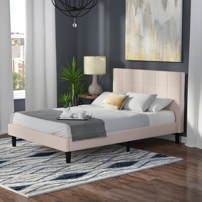 Biscoe Upholstered Platform Bed Size: Queen, Color: Beige