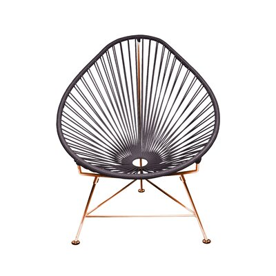 Borquez Papasan Chair Upholstery: Gray, Color: Copper