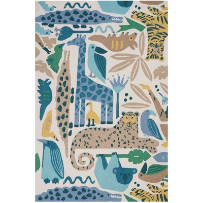 Crew Park Hand-Hooked Blue/Beige Area Rug Rug Size: Rectangle�36 x 56