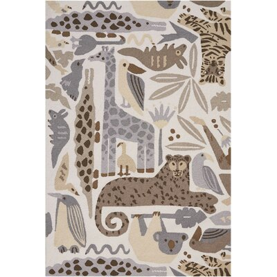 Crew Park Hand-Hooked Gray/Beige Area Rug Rug Size: Rectangle�36 x 56