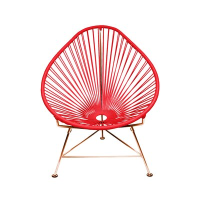 Borquez Papasan Chair Upholstery: Red, Finish: Copper