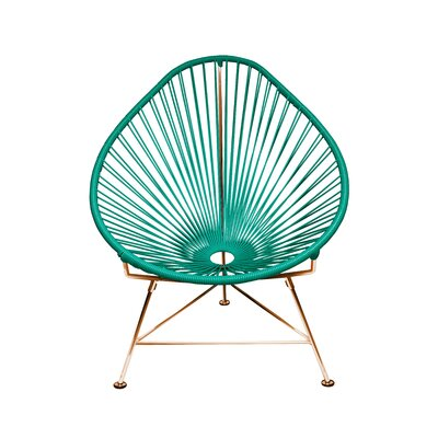 Borquez Papasan Chair Upholstery: Aquamarine, Color: Copper
