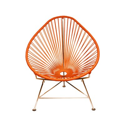 Borquez Papasan Chair Upholstery: Orange, Color: Copper