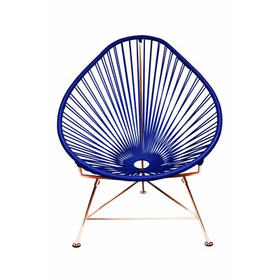 Borquez Papasan Chair Upholstery: Navy, Finish: Copper