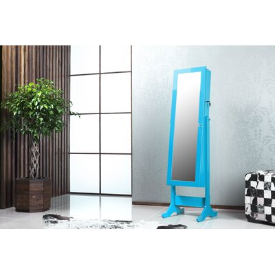 Witmer High Gloss Lockable Free Standing Jewelry Armoire with Mirror Color: Blue