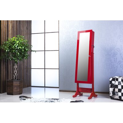 Witmer High Gloss Lockable Free Standing Jewelry Armoire with Mirror Color: Red