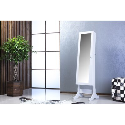 Witmer High Gloss Lockable Free Standing Jewelry Armoire with Mirror Color: White