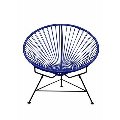 Papasan Chair Finish: Black, Upholstery: Navy