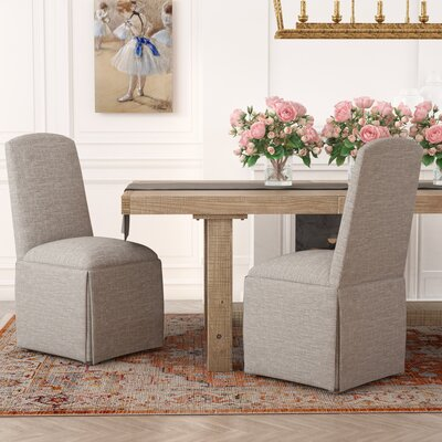 Lamoille Traditional Skirted Upholstered Dining Chair Upholstery: Stone