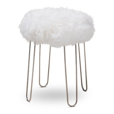 Blytheswood Modern Glam Genuine Sheep Skin Ottoman