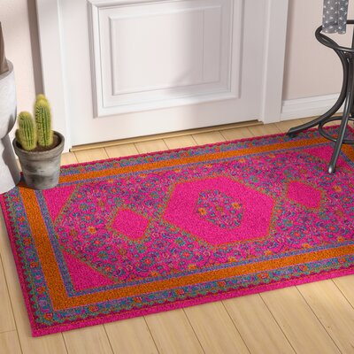 Hagerman Classic Magenta Area Rug Rug size: Rectangle 36 x 56