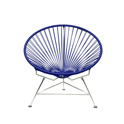 Papasan Chair Finish: Chrome, Upholstery: Navy
