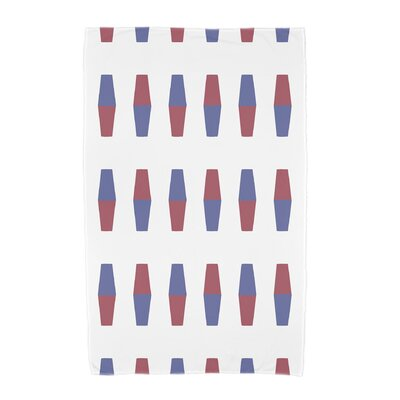 London Bowling Pins Geometric Print Beach Towel Color: Red