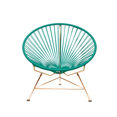 Papasan Chair Finish: Copper, Upholstery: Aquamarine
