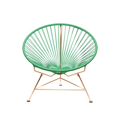 Papasan Chair Finish: Copper, Upholstery: Aquamarine Blue