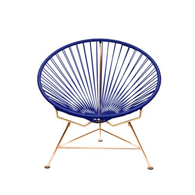 Papasan Chair Finish: Copper, Upholstery: Navy