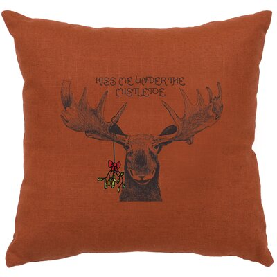 Albury Mistletoe Moose Throw Pillow Color: Paprika