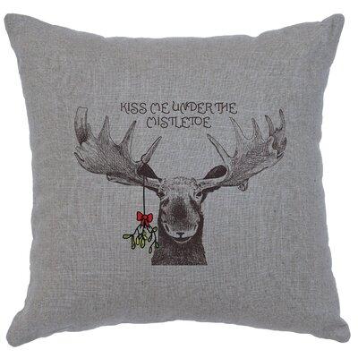 Albury Mistletoe Moose Throw Pillow Color: Gray