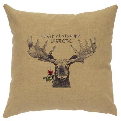 Albury Mistletoe Moose Throw Pillow Color: Straw