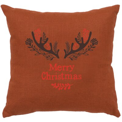 Brownlee Antlers Throw Pillow Color: Paprika