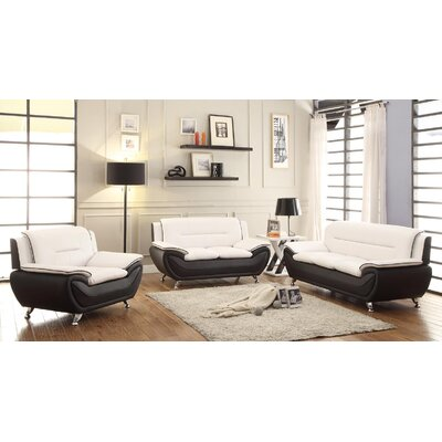 Hiers 3 Piece Living Room Set Upholstery: White/Black