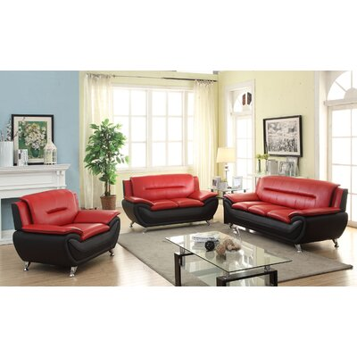 Hiers 3 Piece Living Room Set Upholstery: Red/Black