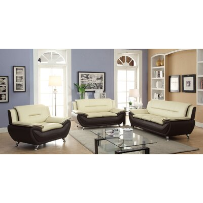 Hiers 3 Piece Living Room Set Upholstery: Beige/Burgundy