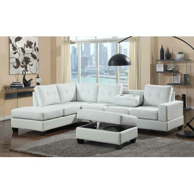 Uecker Reversible Sectional with Ottoman Upholstery: White