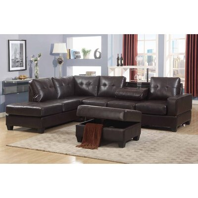 Uecker Reversible Sectional with Ottoman Upholstery: Espresso