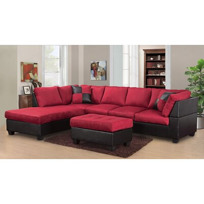 Hiett 3 Piece Living Room Set Upholstery: Red