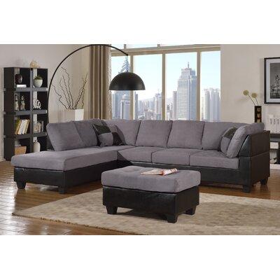 Hiett 3 Piece Living Room Set Upholstery: Gray