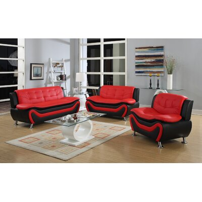 Herron 3 Piece Living Room Set Upholstery: Red/Black