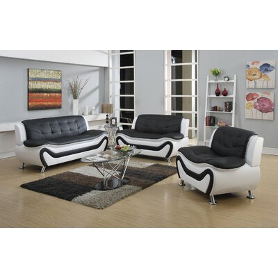 Herron 3 Piece Living Room Set Upholstery: Black/White