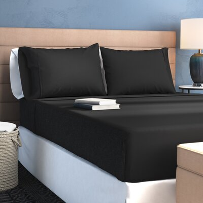 1500 Wrinkle Resistant Super Soft Sheet Set Size: Split California King, Color: Black