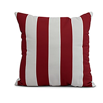 Harriet Rugby Stripe Throw Pillow Color: Red, Size: 18 x 18